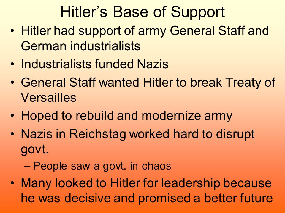 Hitler's Base of Support Hitler had support of army General Staff and German industrialists Industrialists funded Nazis General Staff wanted Hitler to