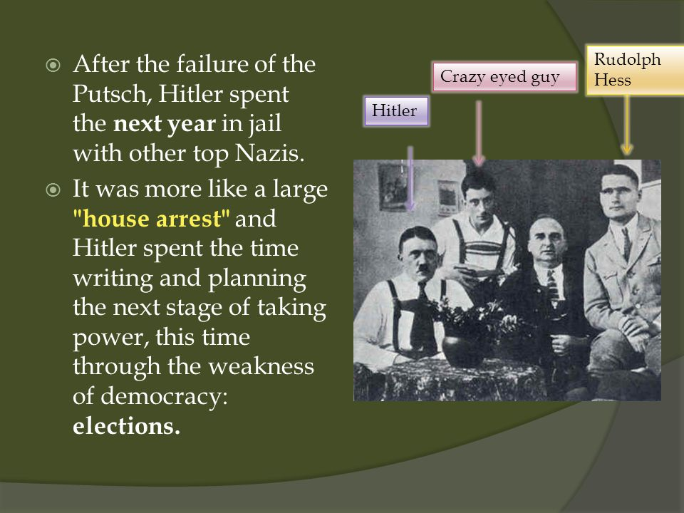  After the failure of the Putsch, Hitler spent the next year in jail with other top Nazis.