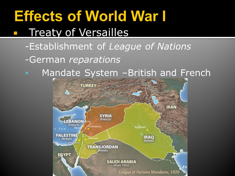  Treaty of Versailles -Establishment of League of Nations -German reparations  Mandate System –British and French