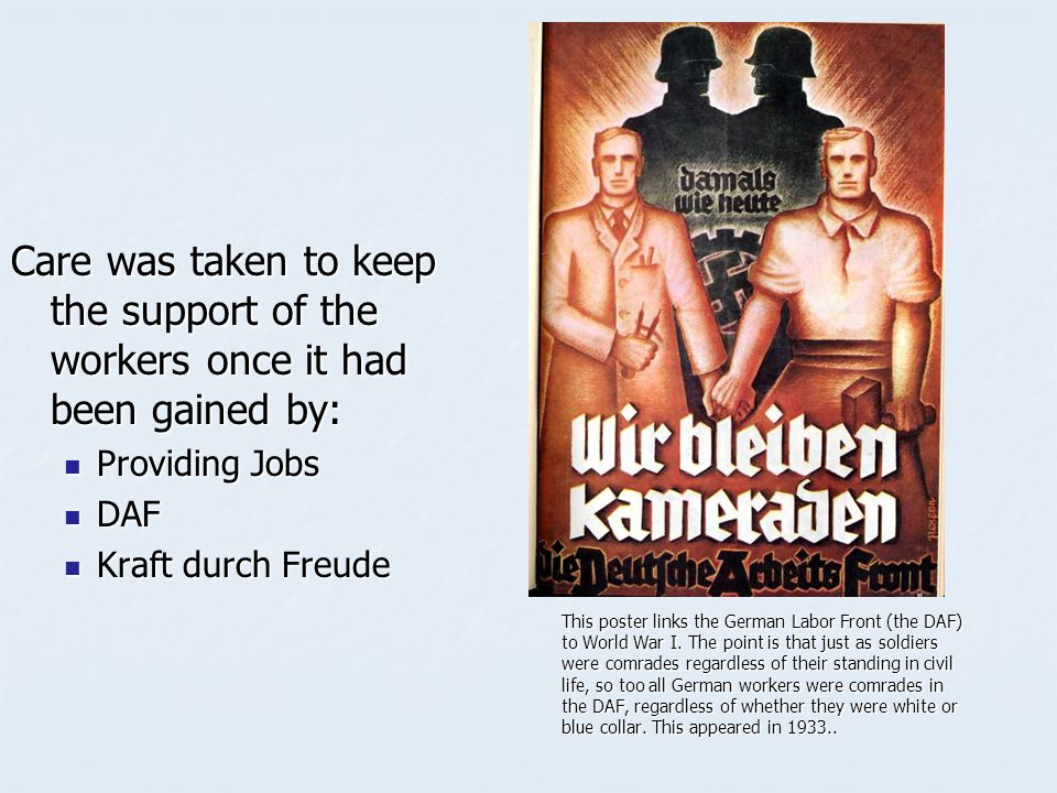 Care was taken to keep the support of the workers once it had been gained by: Providing Jobs Providing Jobs DAF DAF Kraft durch Freude Kraft durch Fre