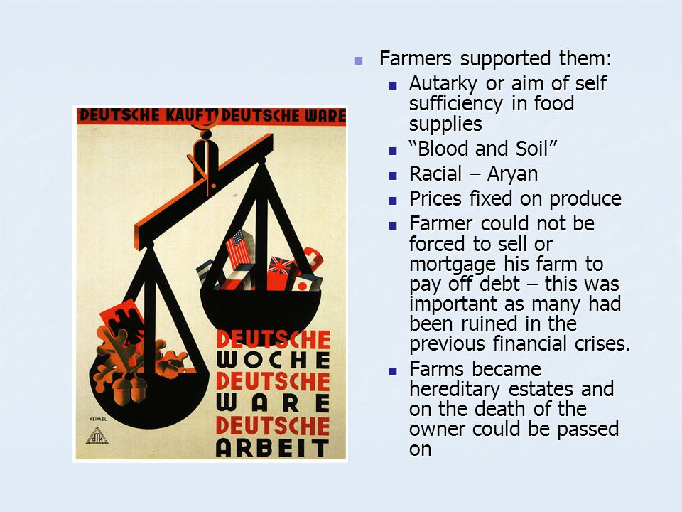 Farmers supported them: Farmers supported them: Autarky or aim of self sufficiency in food supplies Blood and Soil Racial – Aryan Prices fixed on produce Farmer could not be forced to sell or mortgage his farm to pay off debt – this was important as many had been ruined in the previous financial crises.