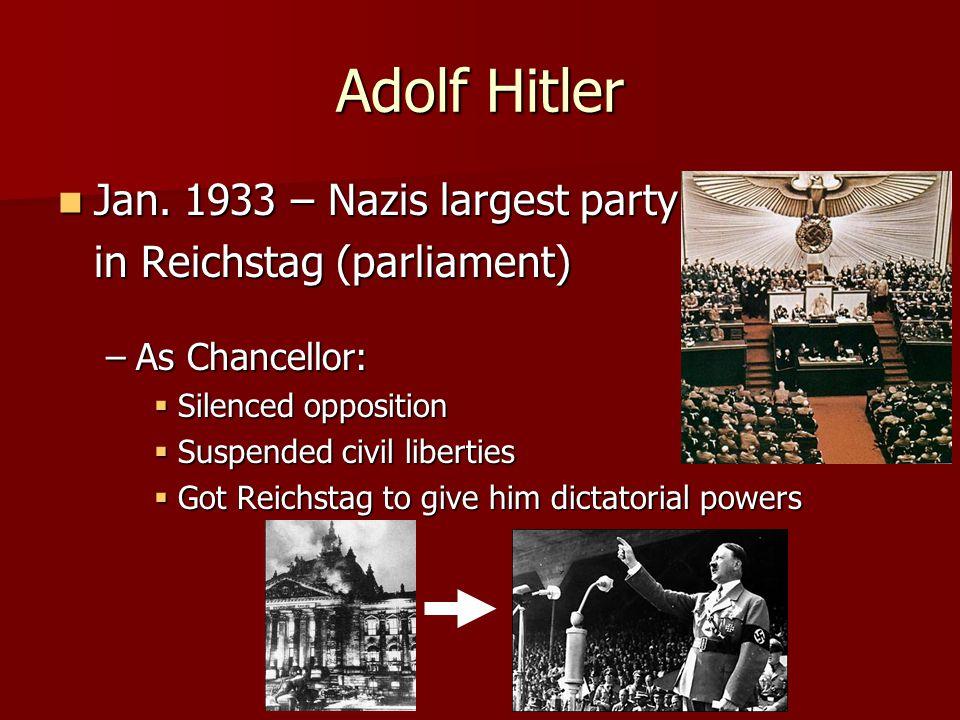 Adolf Hitler Jan. 1933 – Nazis largest party Jan.