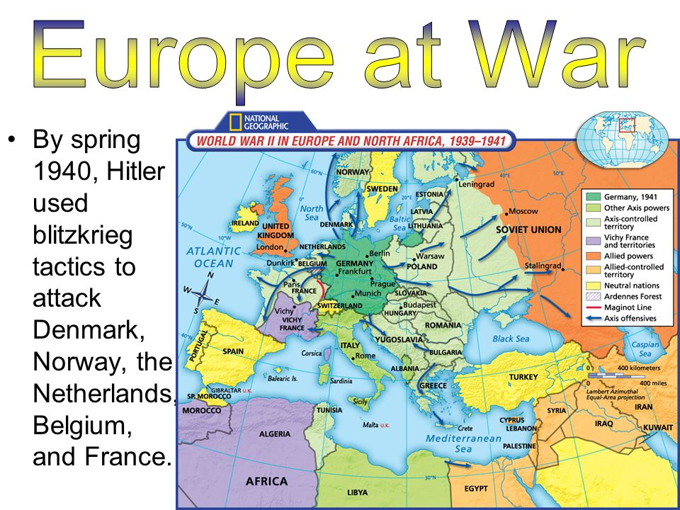 By spring 1940, Hitler used blitzkrieg tactics to attack Denmark, Norway, the Netherlands, Belgium, and France.