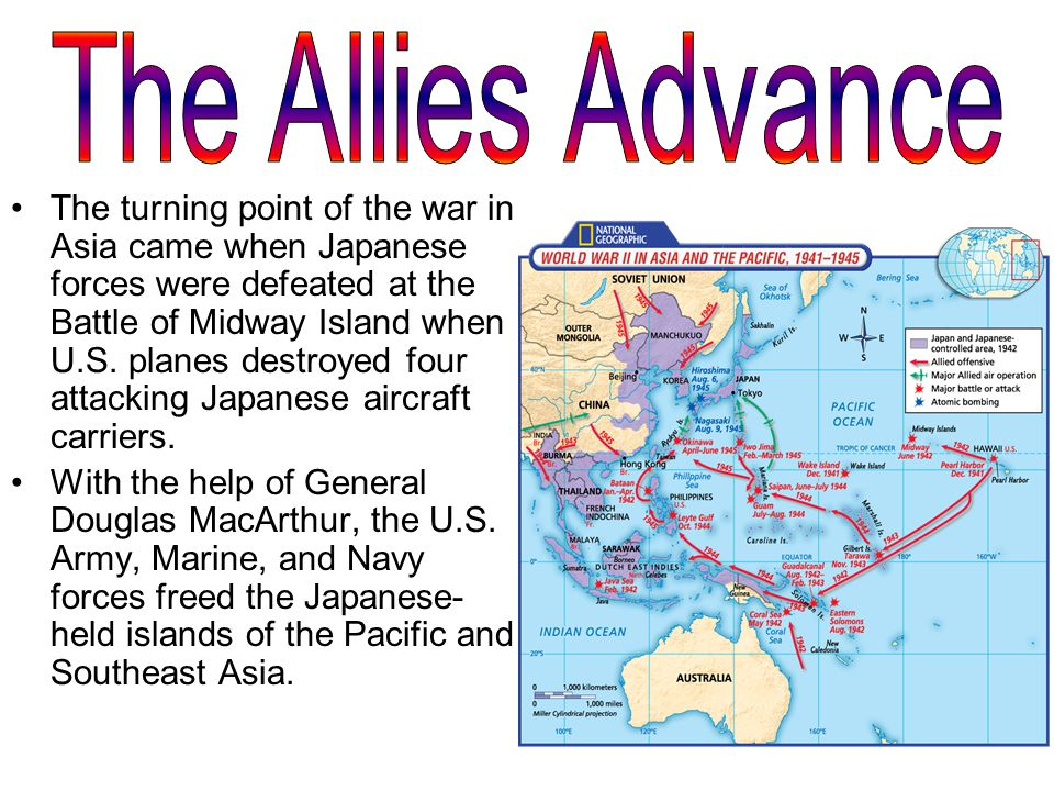 The turning point of the war in Asia came when Japanese forces were defeated at the Battle of Midway Island when U.S.