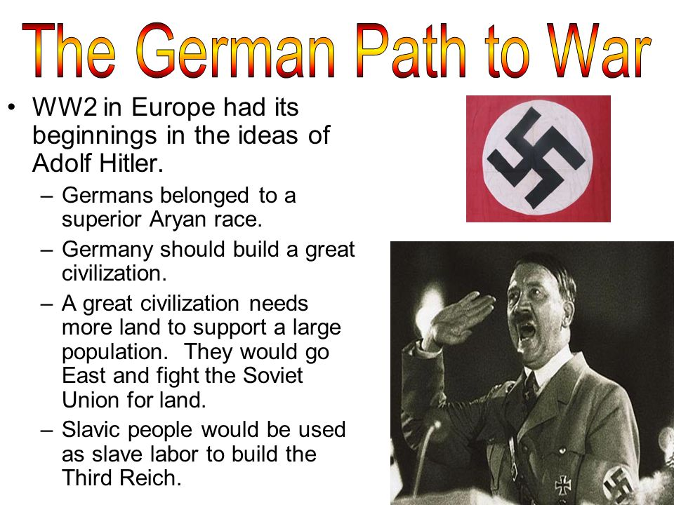 WW2 in Europe had its beginnings in the ideas of Adolf Hitler.