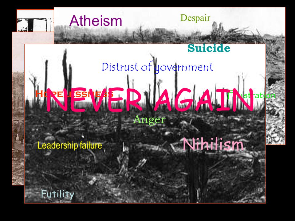Futility Nihilism Despair Distrust of government Hopelessness Anger Atheism Leadership failure Suicide Frustration NEVER AGAIN