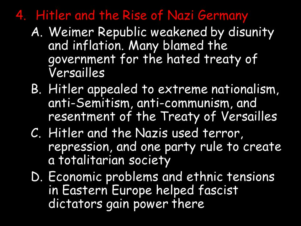 4.Hitler and the Rise of Nazi Germany A.Weimer Republic weakened by disunity and inflation. Many blamed the government for the hated treaty of Versail