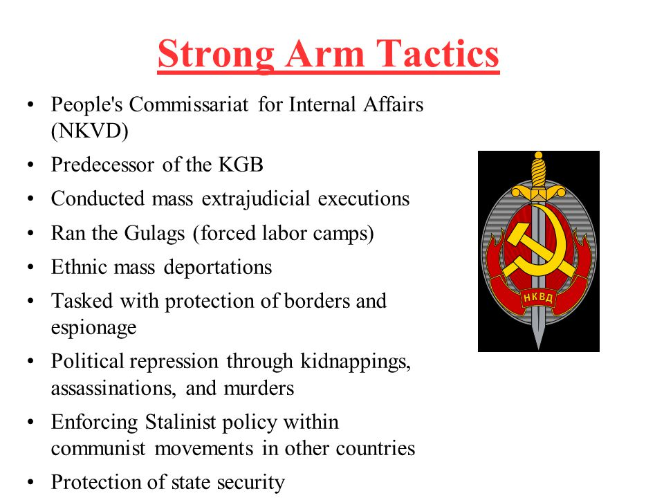 Strong Arm Tactics People's Commissariat for Internal Affairs (NKVD) Predecessor of the KGB Conducted mass extrajudicial executions Ran the Gulags (fo