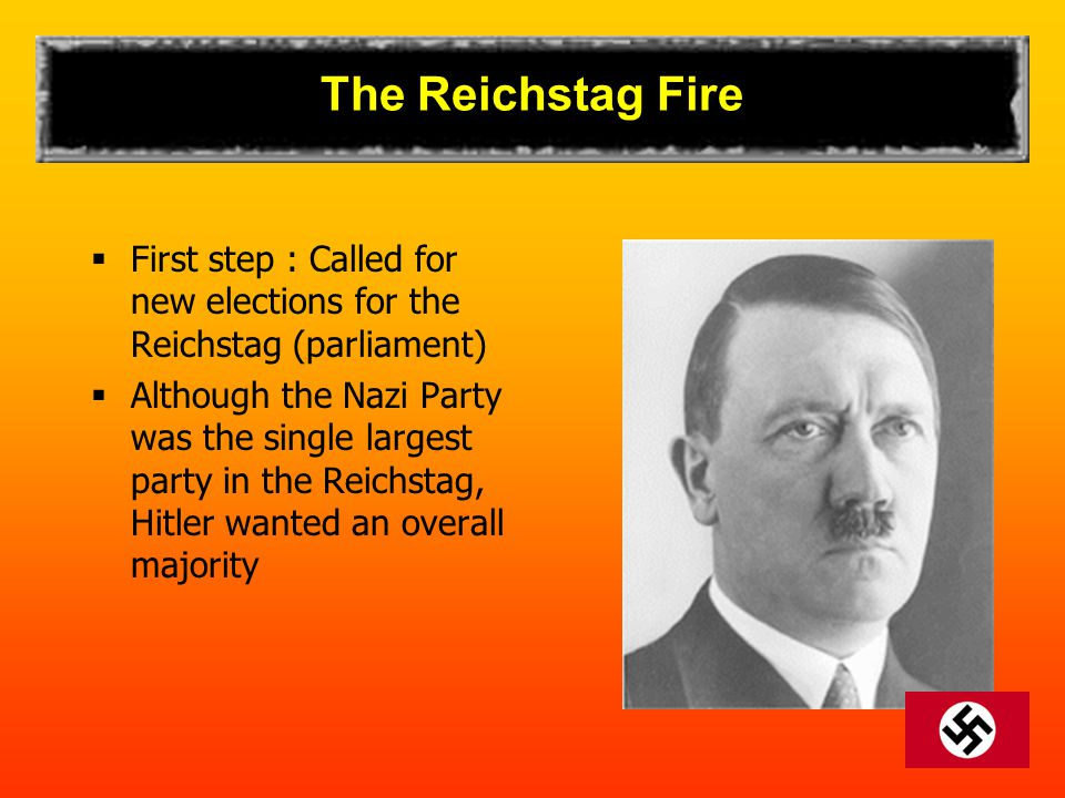 The Reichstag Fire  First step : Called for new elections for the Reichstag (parliament)  Although the Nazi Party was the single largest party in th