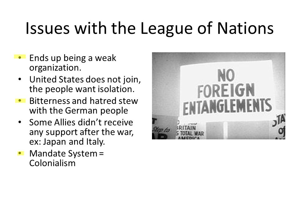Issues with the League of Nations Ends up being a weak organization.