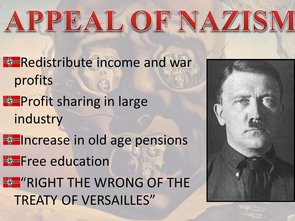 Redistribute income and war profits Profit sharing in large industry Increase in old age pensions Free education RIGHT THE WRONG OF THE TREATY OF VERSAILLES