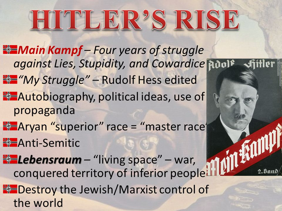 Main Kampf – Four years of struggle against Lies, Stupidity, and Cowardice My Struggle – Rudolf Hess edited Autobiography, political ideas, use of propaganda Aryan superior race = master race Anti-Semitic Lebensraum Lebensraum – living space – war, conquered territory of inferior people Destroy the Jewish/Marxist control of the world