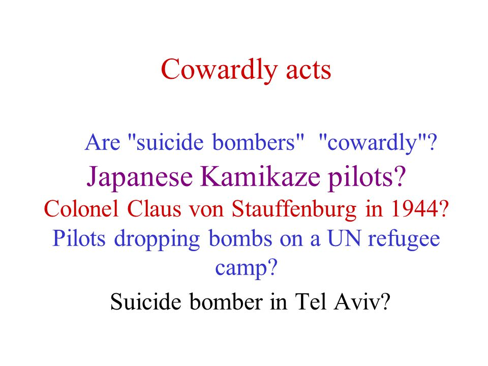 Cowardly acts Are suicide bombers cowardly . Japanese Kamikaze pilots.