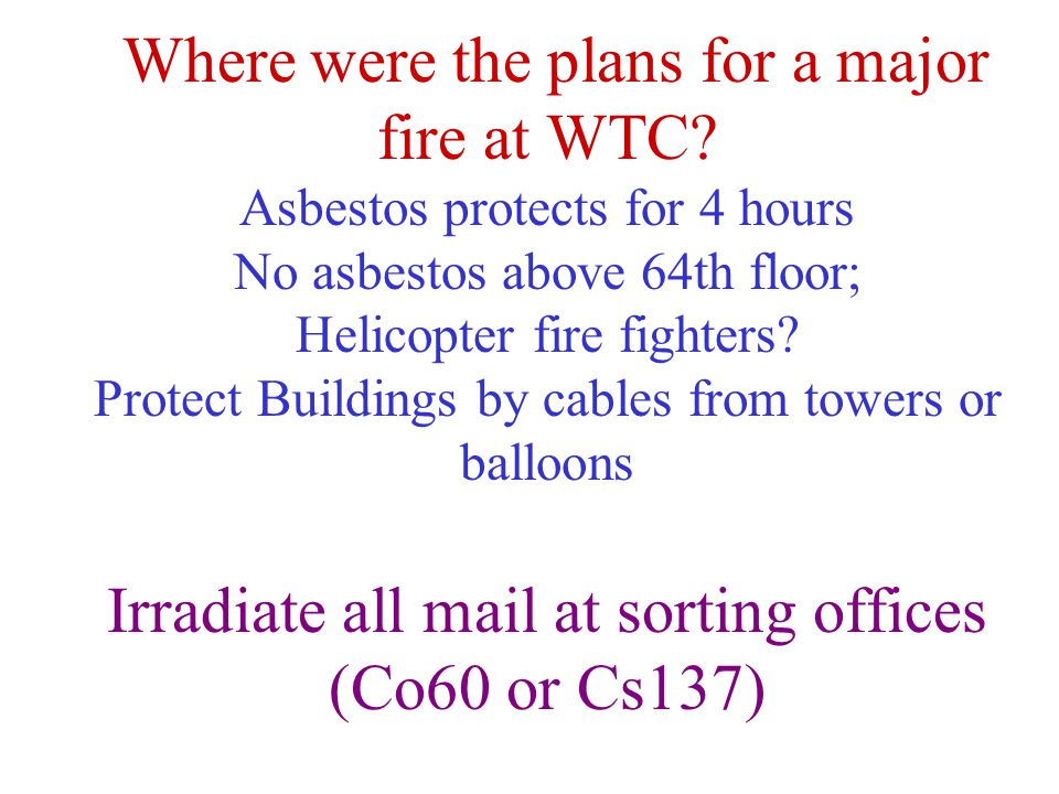 Where were the plans for a major fire at WTC.