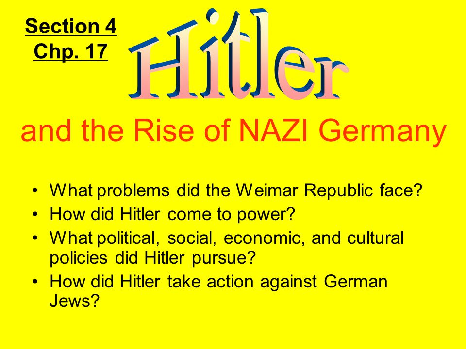 What problems did the Weimar Republic face.How did Hitler come to power.