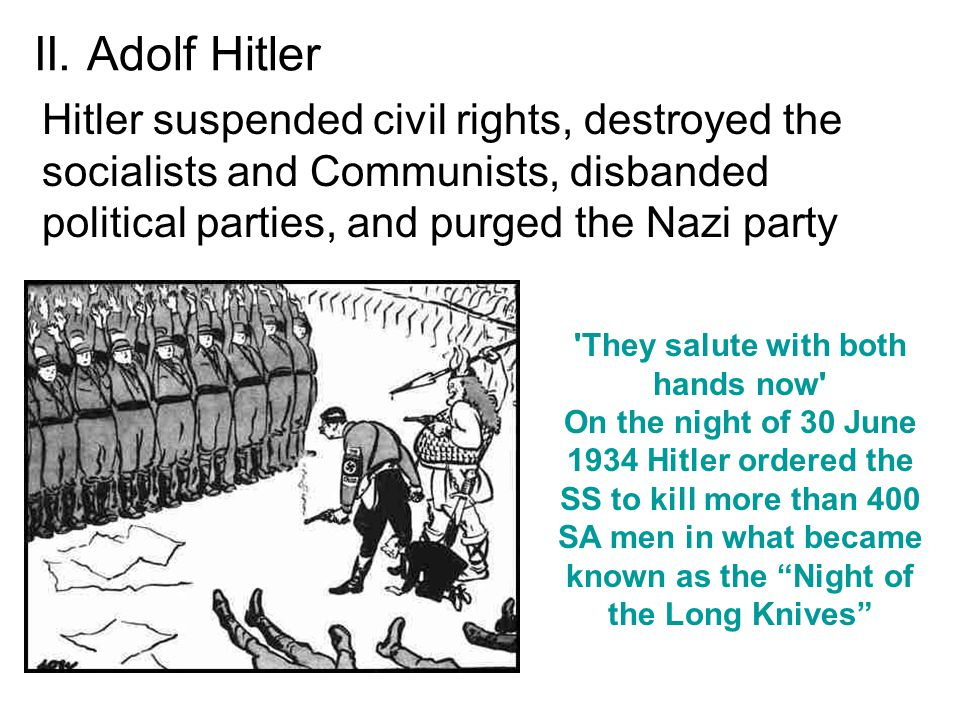 II. Adolf Hitler Hitler suspended civil rights, destroyed the socialists and Communists, disbanded political parties, and purged the Nazi party 'They