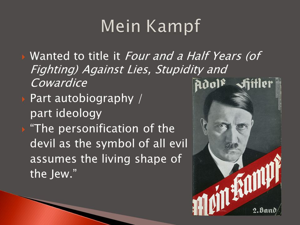  Served 8 months  Writes Mein Kampf  Solidifies Anti-Semitic thought  Decides only way to gain power is by democratic means