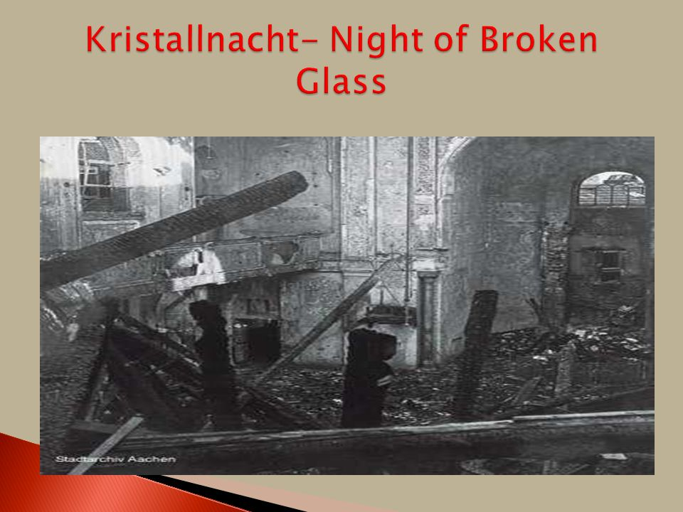  1935- Nuremburg Laws in Germany denied citizenship and many other rights to German Jews  Kristallnacht (Night of Broken Glass)- November 9,1938- a