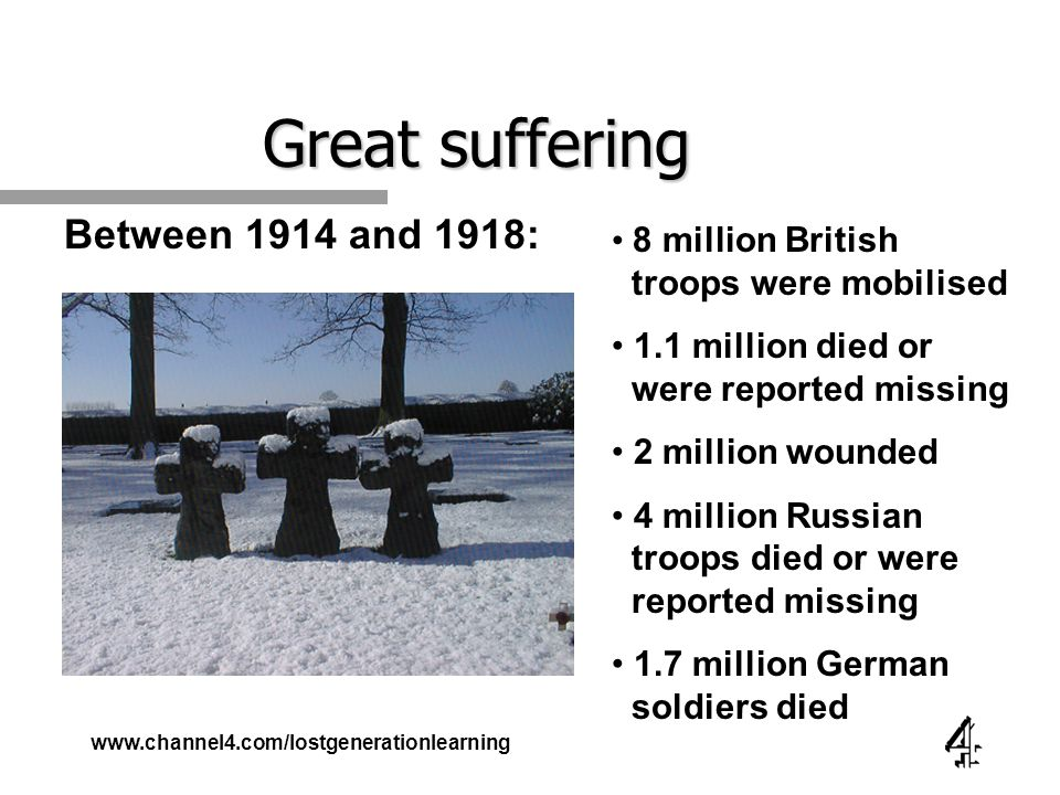 www.channel4.com/lostgenerationlearning Great suffering Between 1914 and 1918: 8 million British troops were mobilised 1.1 million died or were reported missing 2 million wounded 4 million Russian troops died or were reported missing 1.7 million German soldiers died