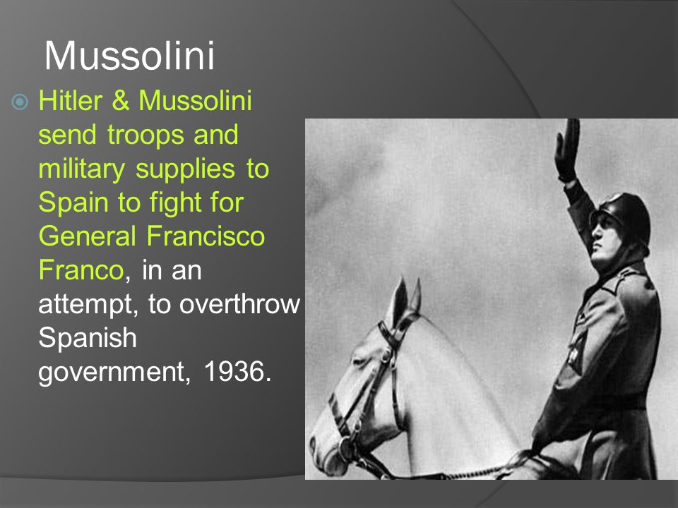 TIMELINE OF EVENTS  After WWI—Mussolini comes to power  1920's-Hitler forms NAZI party  Sept.