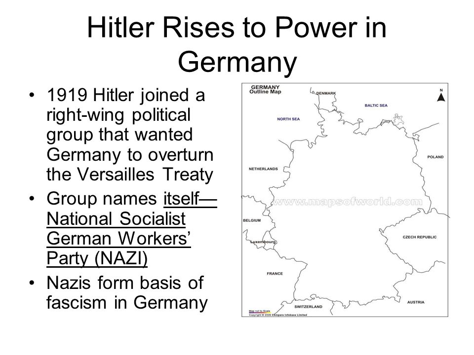 Nazi Germany Adopt swastika as symbol Form militia (brown shirts) who act as storm troopers Elect Hitler as Fuhrer Attempt to seize power in Munich failed, Hitler imprisoned; Nazi' weak Hitler writes Mein Kampf where he outlines his beliefs and goals for Germany After release, Hitler revives Nazi Party Hitler gains national attention when US loans stop during Great Depression