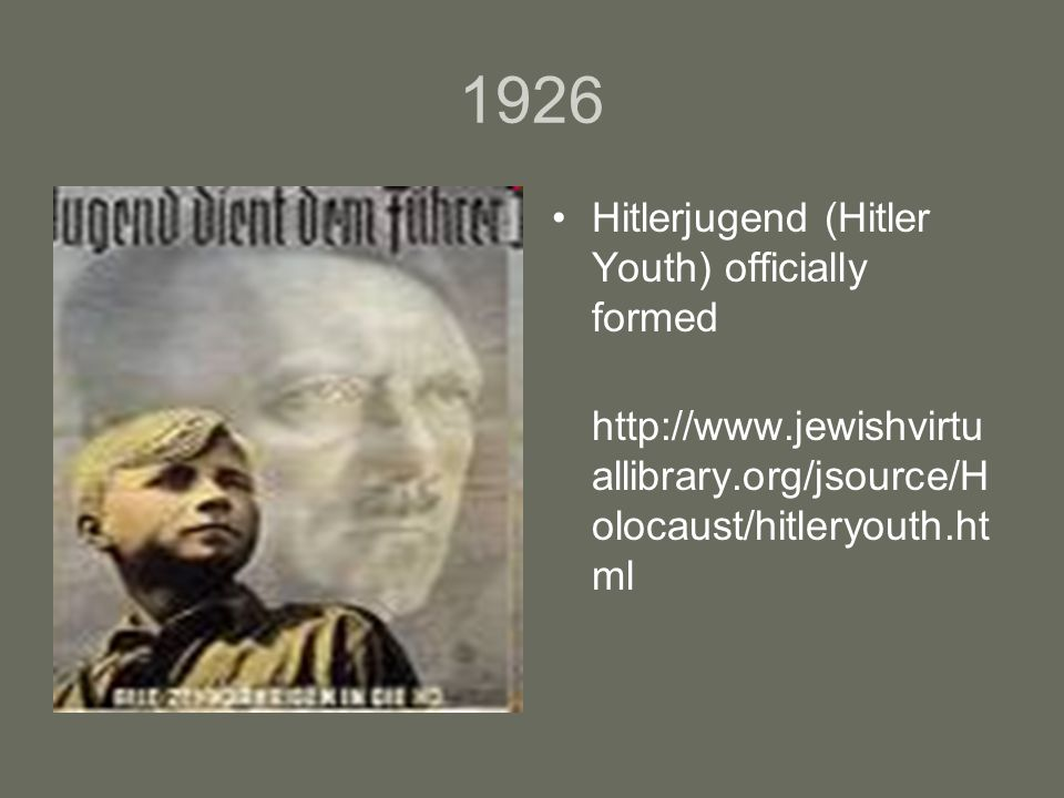 1926 Hitlerjugend (Hitler Youth) officially formed http://www.jewishvirtu allibrary.org/jsource/H olocaust/hitleryouth.ht ml