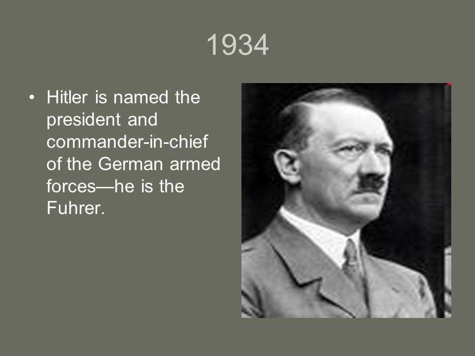 1934 Hitler is named the president and commander-in-chief of the German armed forces—he is the Fuhrer.