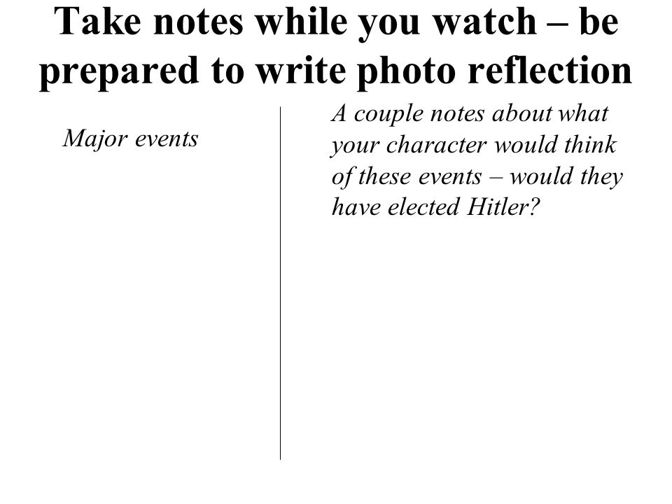 Take notes while you watch – be prepared to write photo reflection Major events A couple notes about what your character would think of these events – would they have elected Hitler?