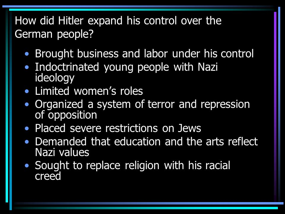 How did Hitler expand his control over the German people.