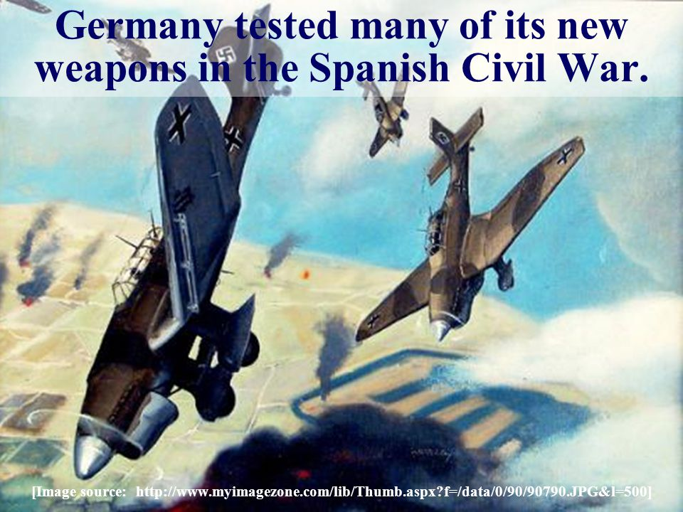 Germany tested many of its new weapons in the Spanish Civil War.