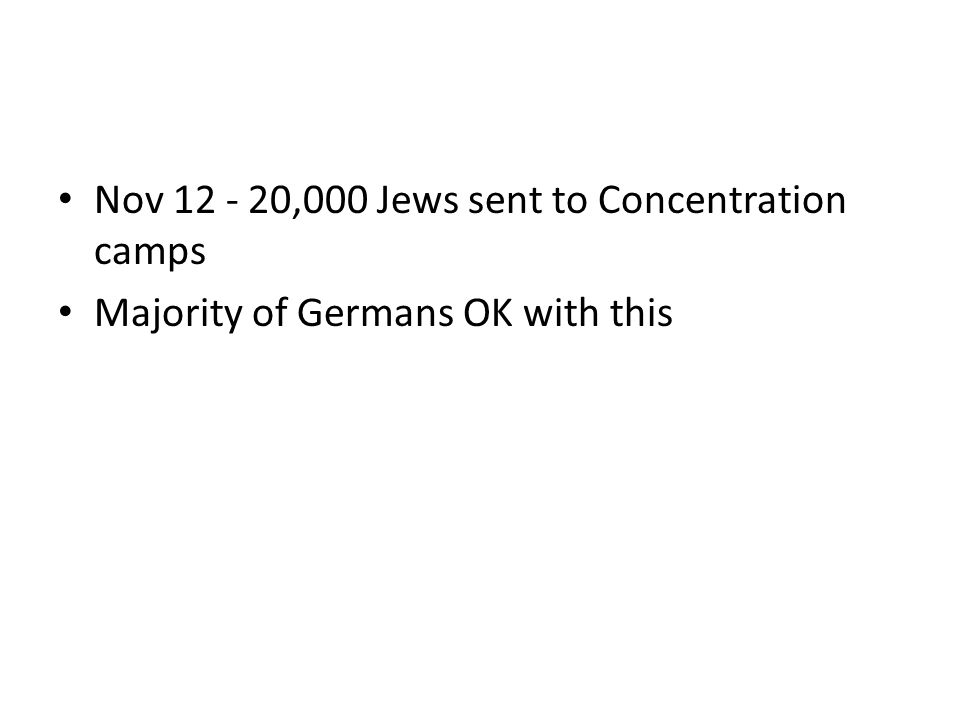 Nov 12 - 20,000 Jews sent to Concentration camps Majority of Germans OK with this