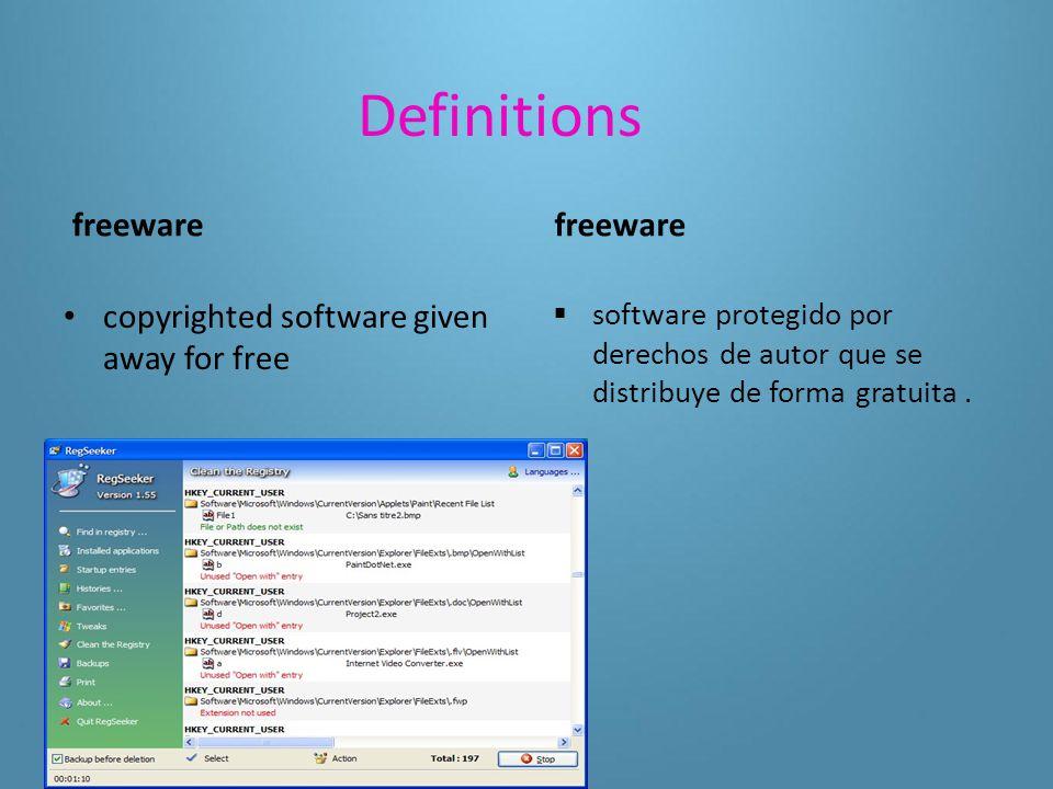 Definitions shareware  a copyrighted software that can be sampled before it is purchased shareware  software con protección de derechos de autor que se puede probar antes de comprarlo