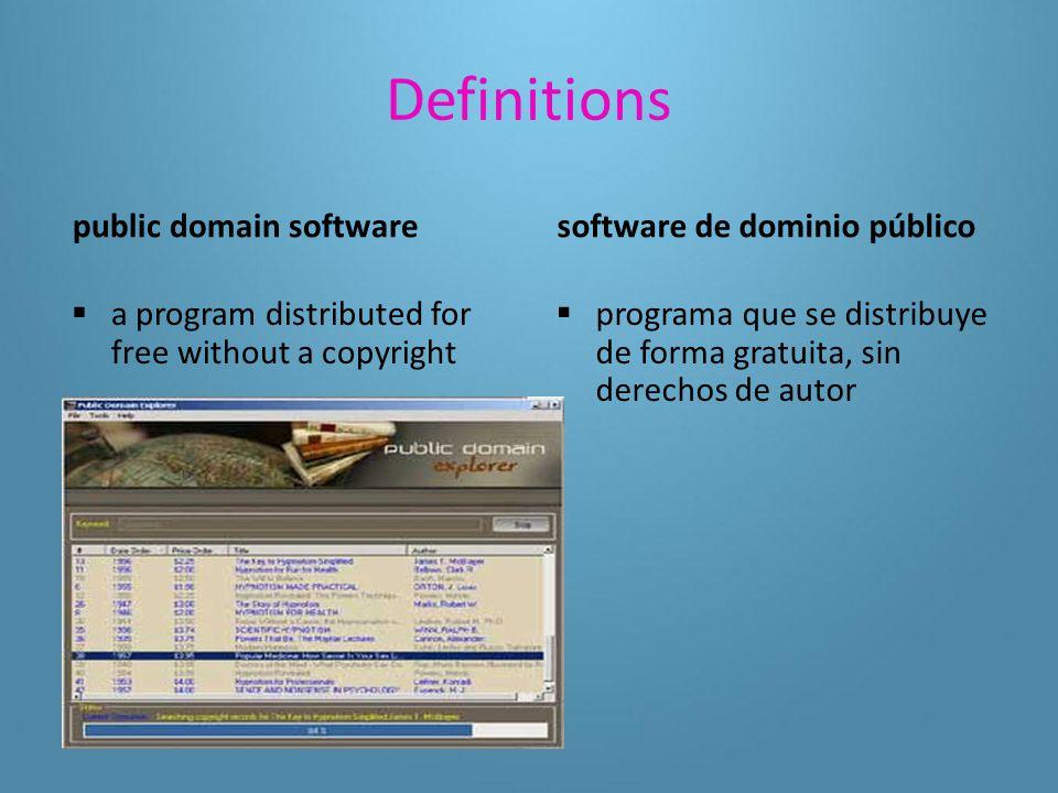 Definitions freeware copyrighted software given away for free freeware  software protegido por derechos de autor que se distribuye de forma gratuita.
