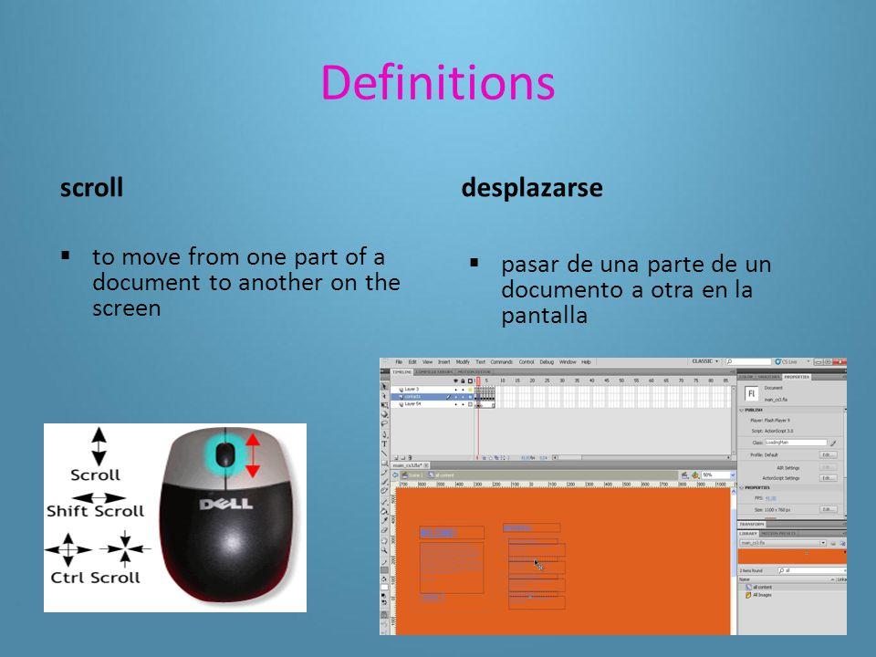 Definitions Help menu  a set of directions for program functions menú de Ayuda  conjunto de instrucciones sobre las funciones de un programa