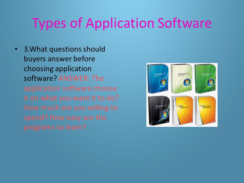 Types of Application Software 2.What kind of application software might you recommend to a friend who wants to create basic graphics, write reports, and create a budget.
