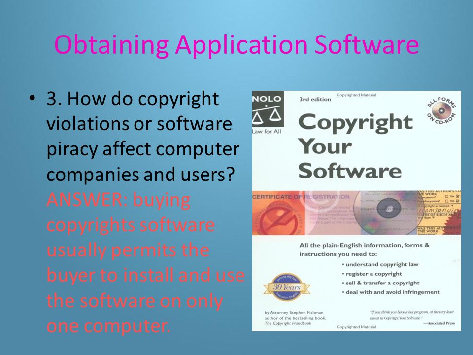 Obtaining Application Software 2.