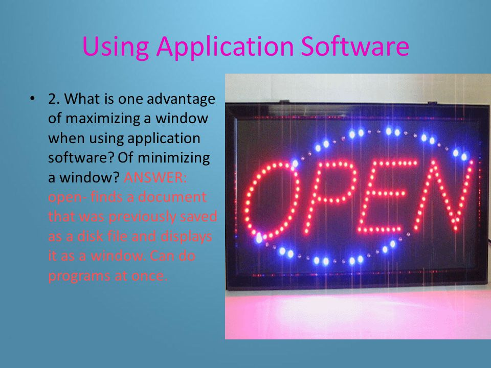 Using Application Software 1. What is the purpose of the title bar and menu bar.