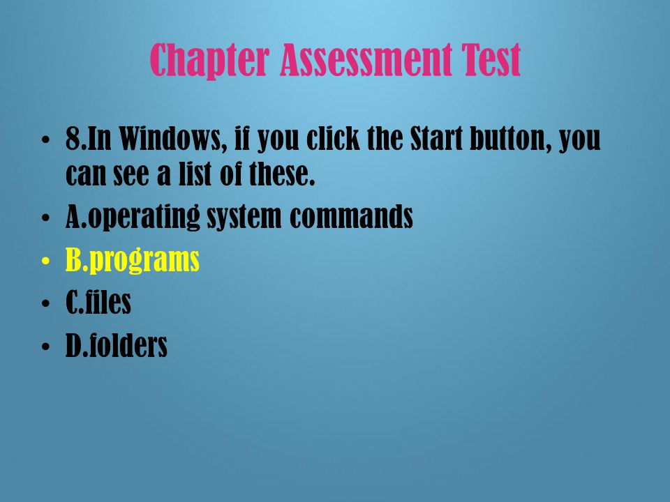 Chapter Assessment Test 7.Before you can use commercial software, you usually must agree to the terms contained in this document.