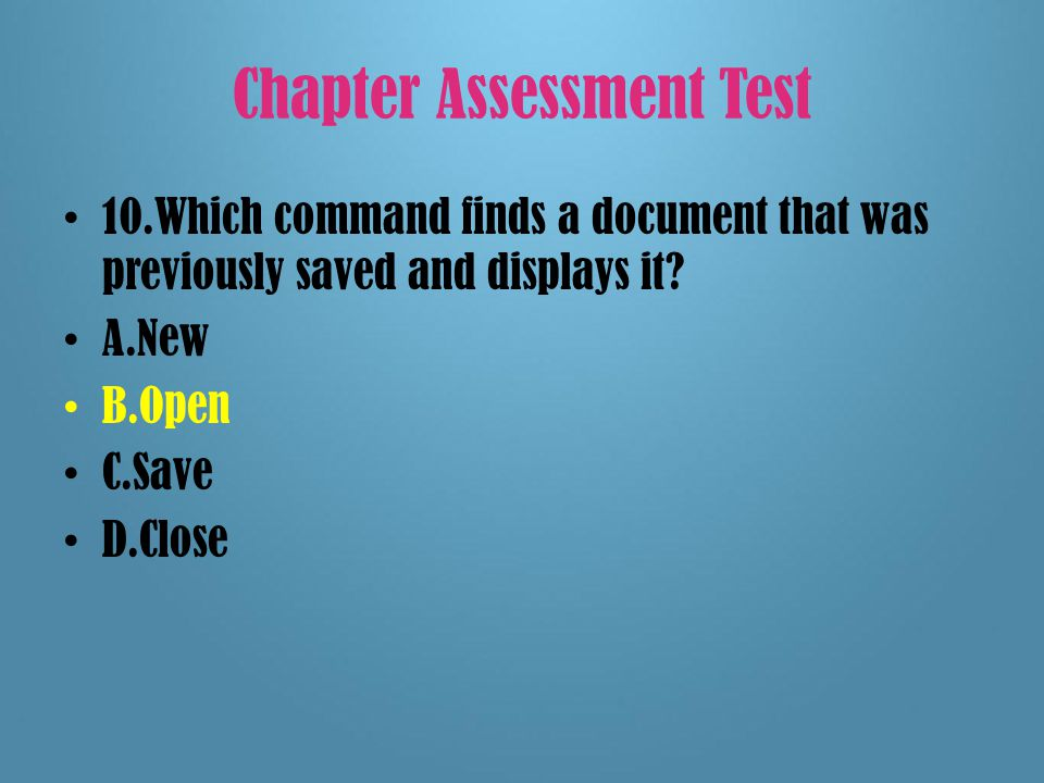 Chapter Assessment Test 9.The top row of an application window is called the _____.