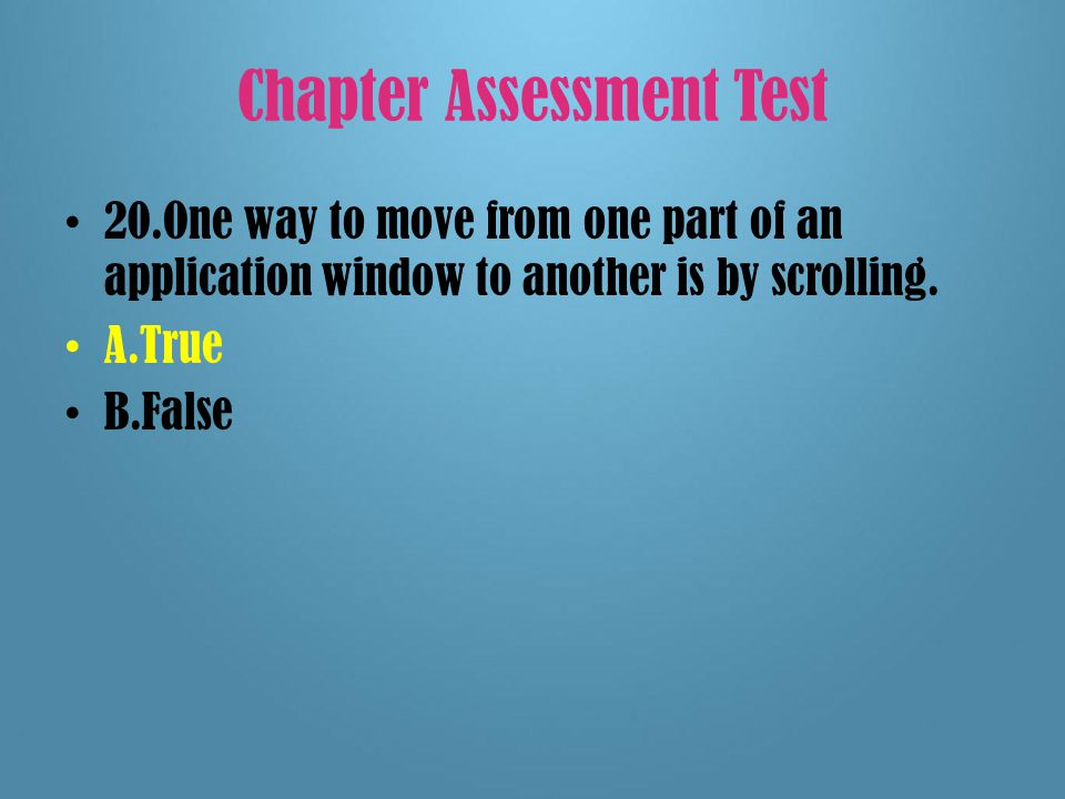 Chapter Assessment Test 19.A program's menu bar is located at the bottom of the application's window.