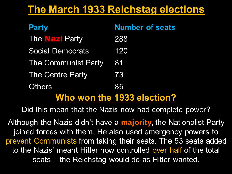 Although the Nazis didn't have a majority, the Nationalist Party joined forces with them. He also used emergency powers to prevent Communists from tak