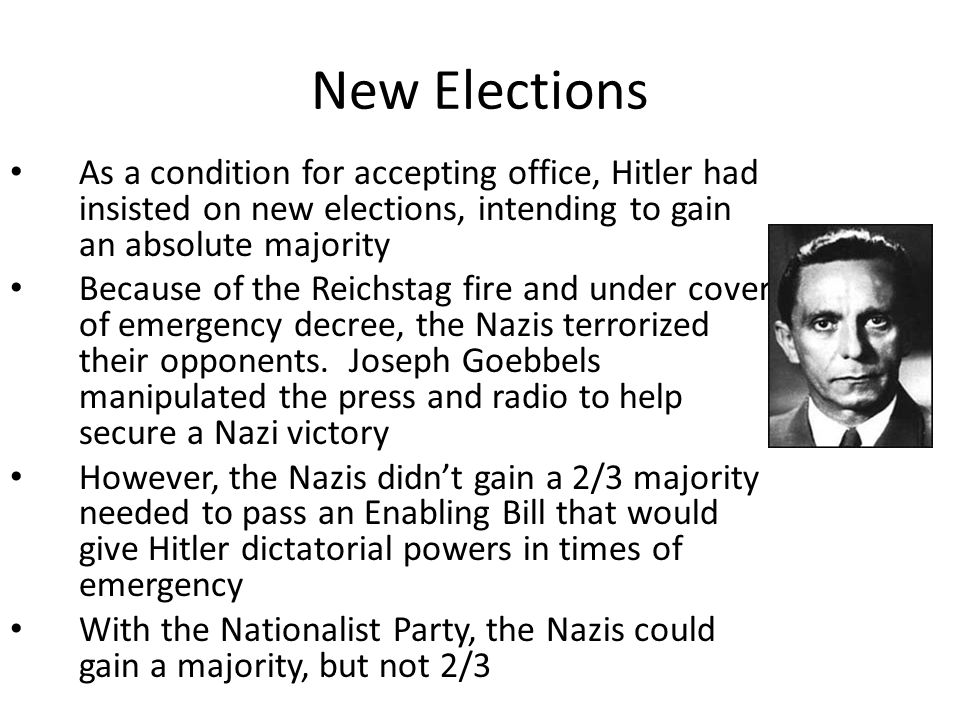 New Elections As a condition for accepting office, Hitler had insisted on new elections, intending to gain an absolute majority Because of the Reichstag fire and under cover of emergency decree, the Nazis terrorized their opponents.