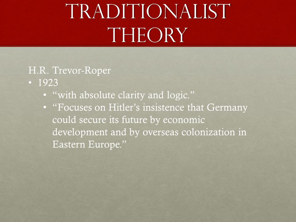 Traditionalist Theory H.R.