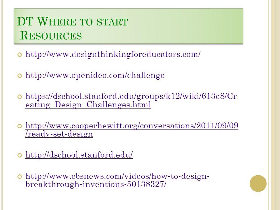 DT W HERE TO START R ESOURCES http://www.designthinkingforeducators.com/ http://www.openideo.com/challenge https://dschool.stanford.edu/groups/k12/wik