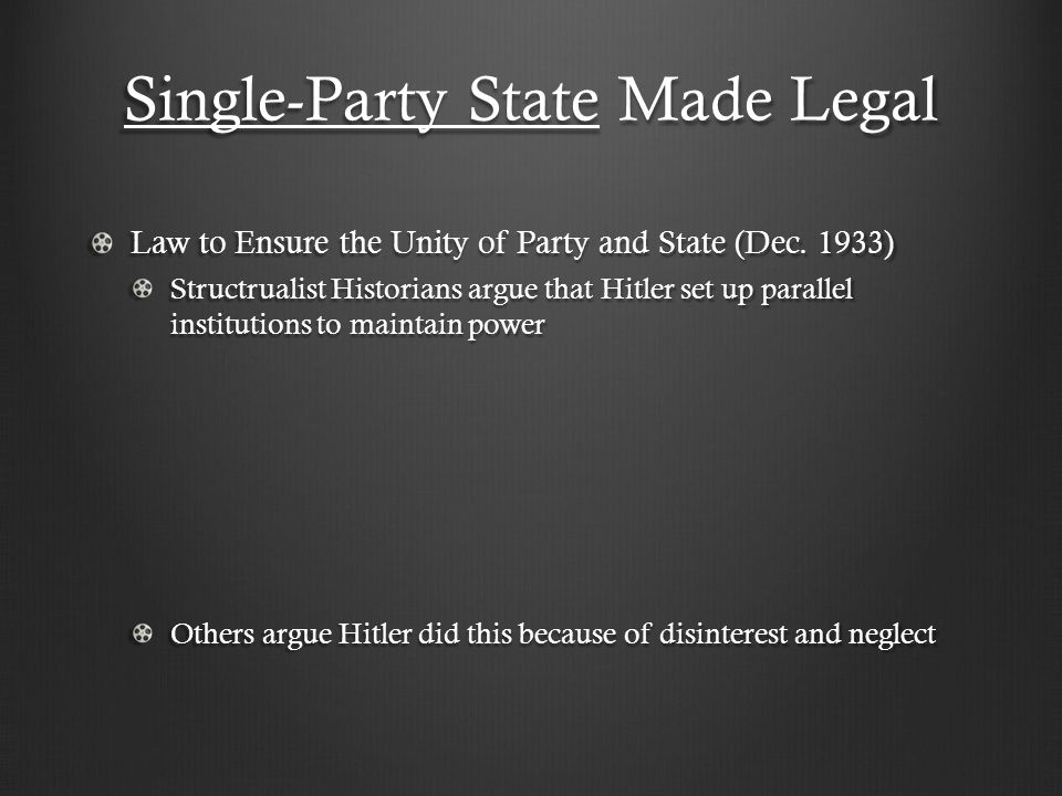 Single-Party State Made Legal Law to Ensure the Unity of Party and State (Dec.