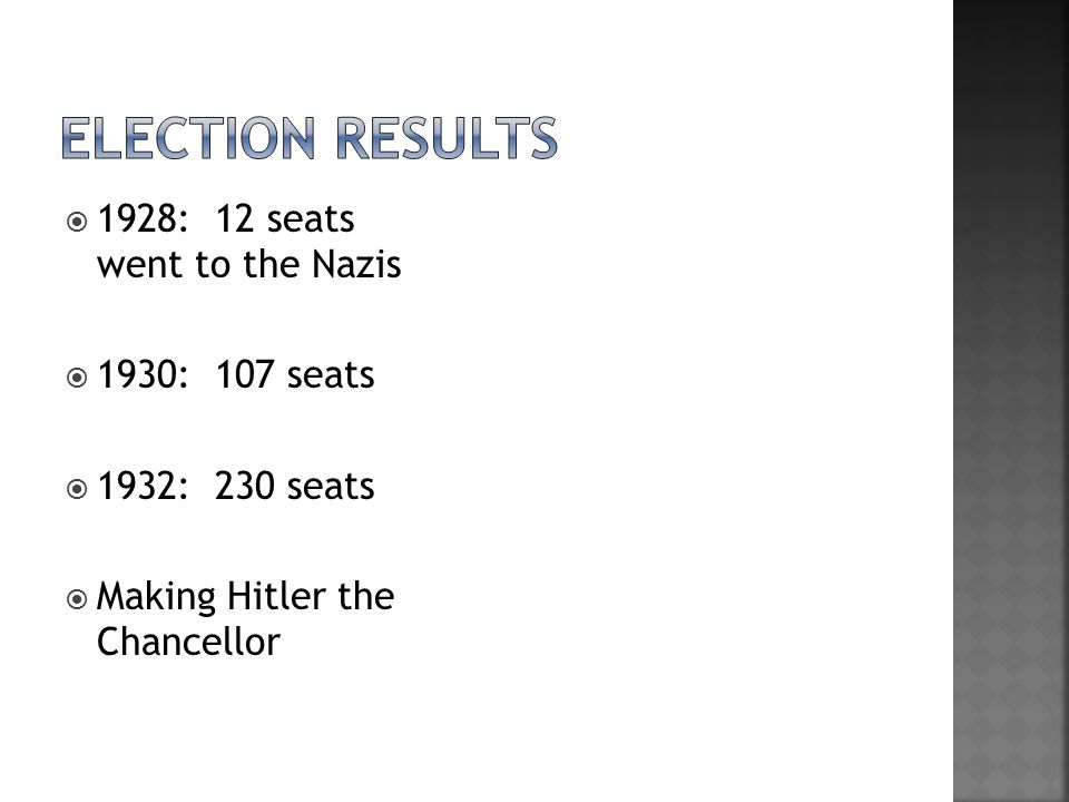  1928: 12 seats went to the Nazis  1930: 107 seats  1932: 230 seats  Making Hitler the Chancellor