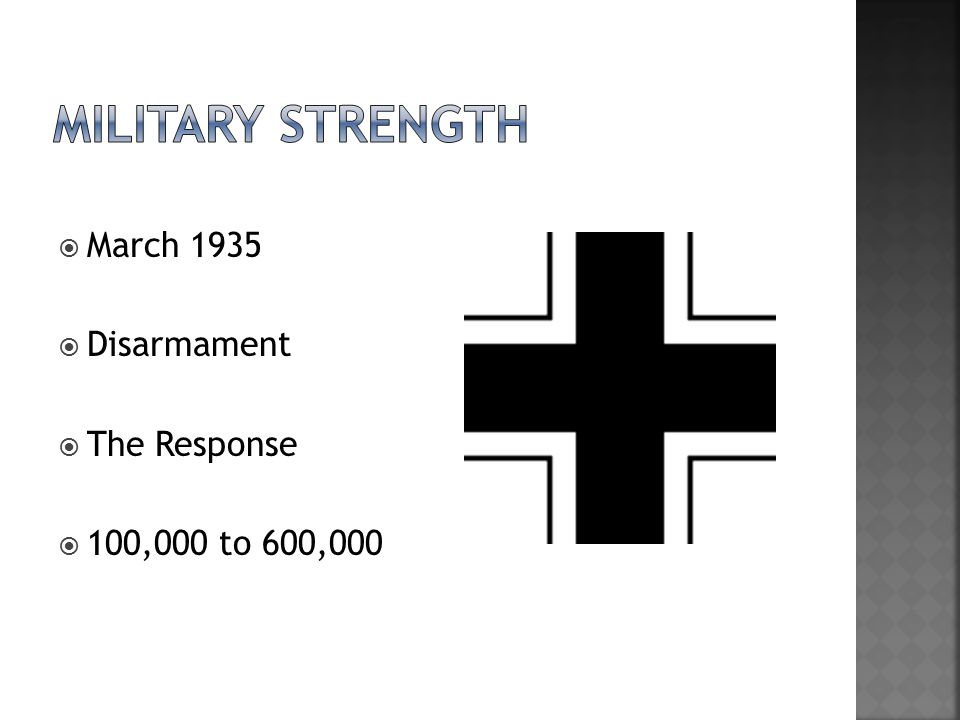  March 1935  Disarmament  The Response  100,000 to 600,000