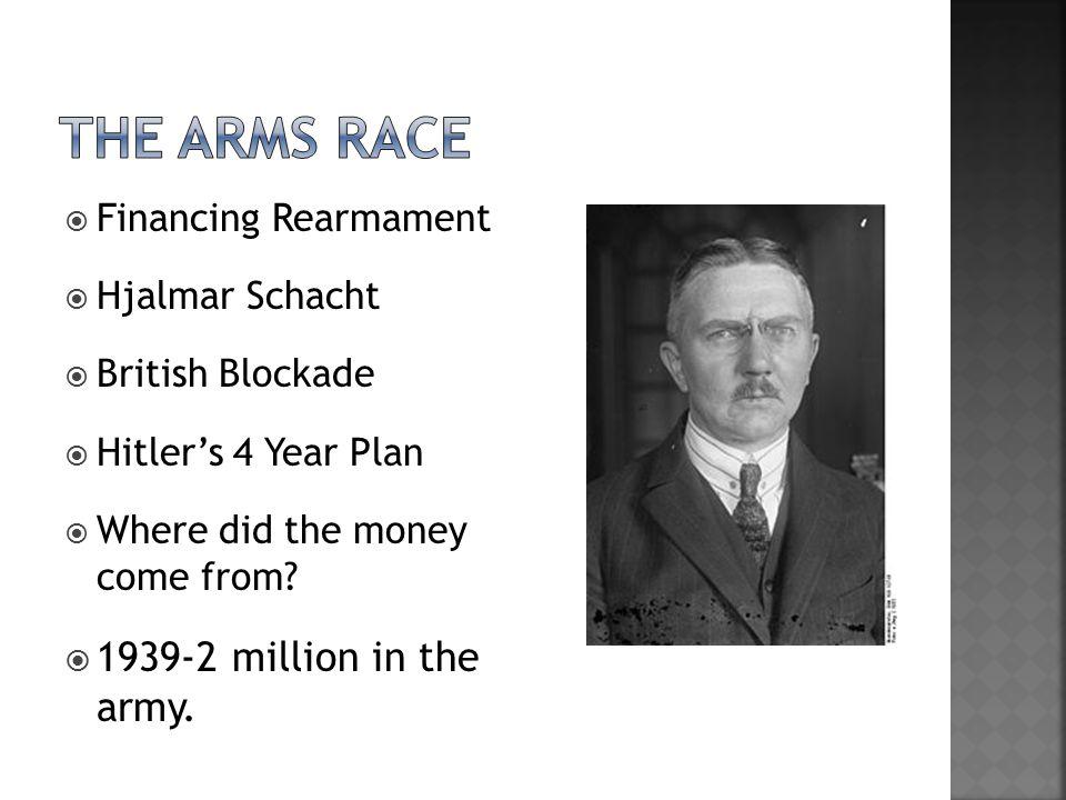  Financing Rearmament  Hjalmar Schacht  British Blockade  Hitler's 4 Year Plan  Where did the money come from.