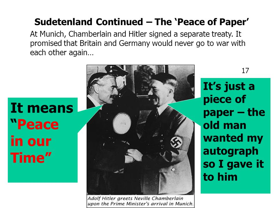 Sudentenland 1938 The Sudetenland contained 2 million German speakers They had NEVER been part of Germany (Austrian before 1919) Hitler demanded 'self