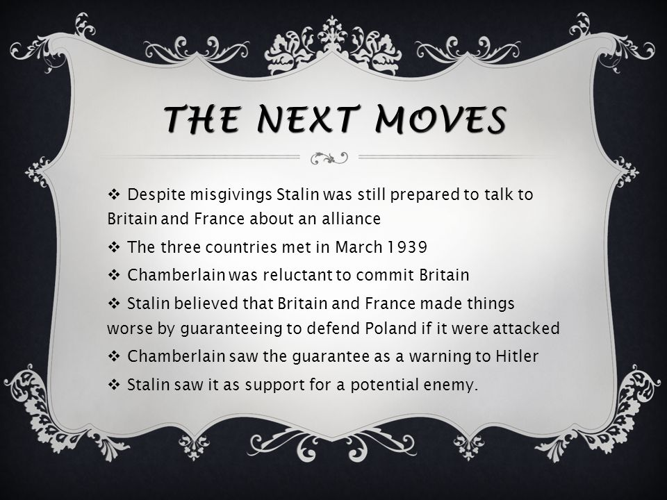 THE MUNICH AGREEMENT  This agreement made Stalin even more wary  Stalin was not consulted about the agreement  Stalin concluded that Britain and Fr